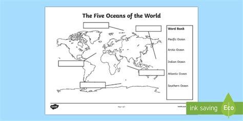 oceans map labelling activity teacher