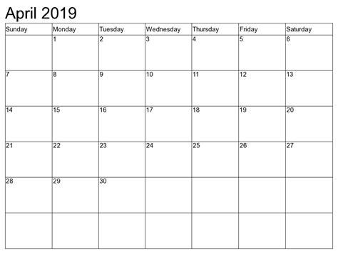 2019 Calendar Template April 2019 Calendar Template 2018 Calendar Printable