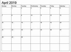 April 2019 Calendar calendar month printable