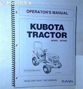 Kubota  Bx2660 Operators Manual  Part   K2651
