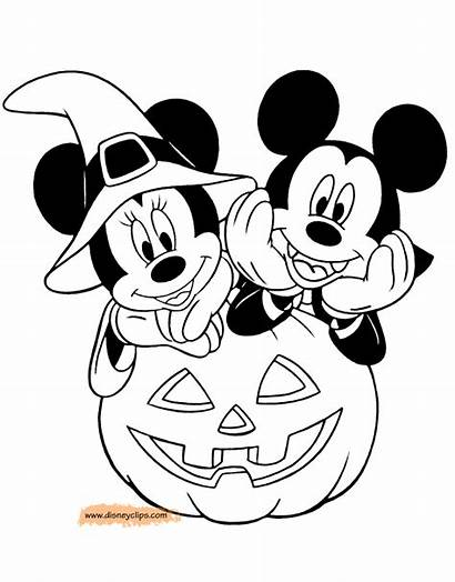 Mickey Minnie Halloween Coloring Disney Pages Sheets
