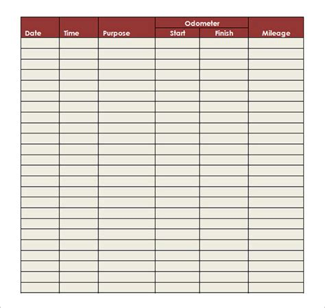 mileage template 9 mileage log templates doc pdf free premium templates