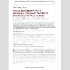 (pdf) Sports Specialization, Part Ii Alternative Solutions To Early Sport Specialization In