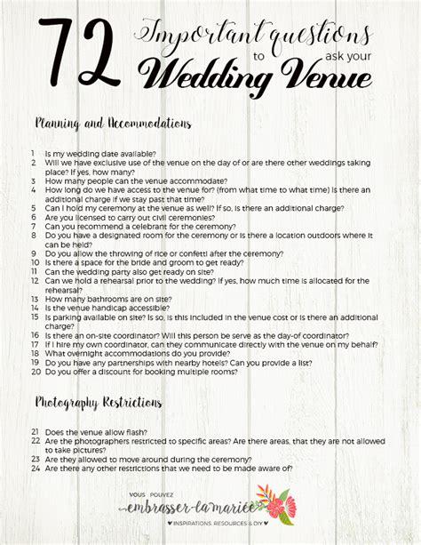 ultimate checklist  questions    wedding venue