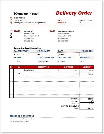 delivery order delivery order form templates for ms word excel word excel templates
