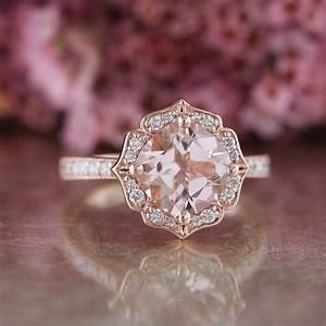 vintage floral morganite engagement ring in 14k rose gold With morganite wedding ring