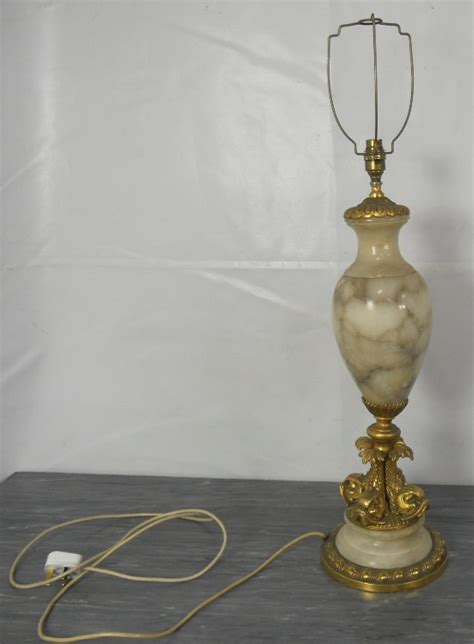 Alabaster Style Urn Shaped Brass Mounted Table Lamp