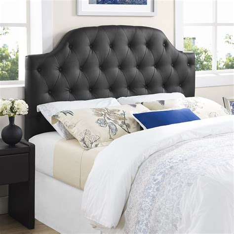 Cheap Leather Headboards by Dorel Lyric Button Tufted Faux Leather Headboard