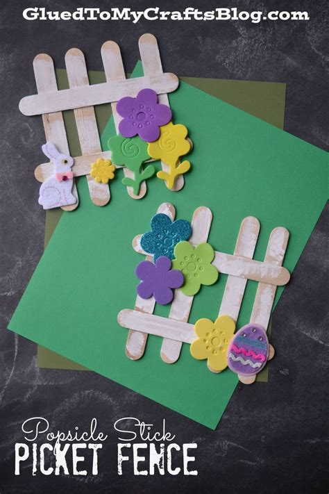 popsicle stick picket fence kid craft idea  spring