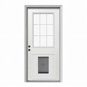 Jeld wen door 9 lite primed white steel entry door with for Back door with dog door