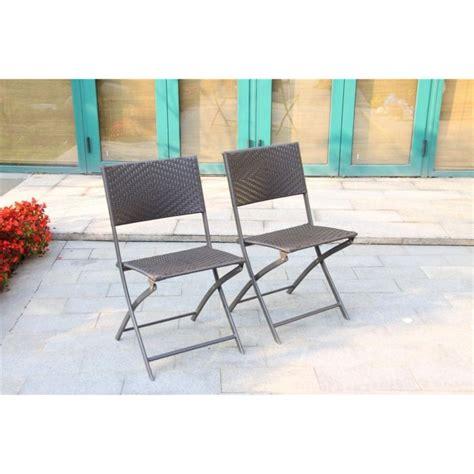 chaises tress es set de 2 chaises pliantes résine tressée chocolat achat