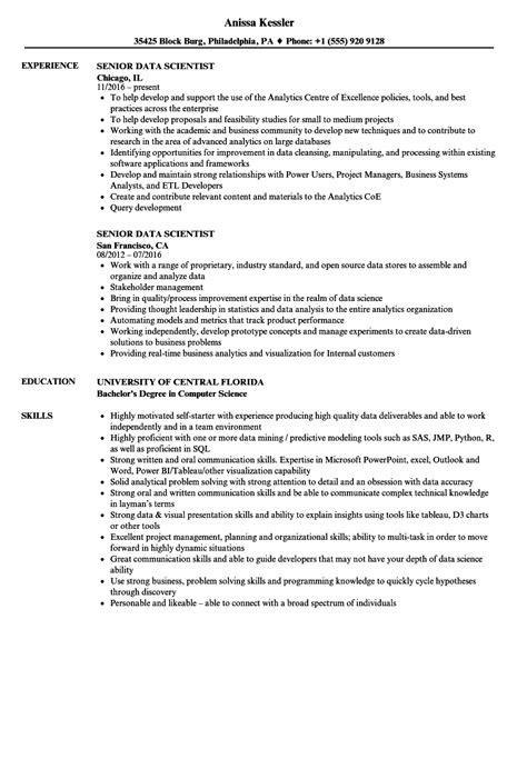 Senior Data Scientist Resume Samples  Velvet Jobs