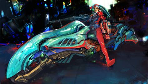 Anime, Futuristic Motorcycle By *hoyhoykung