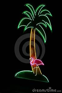 Neon Sign With Palm Tree And Flamingo Royalty Free Stock