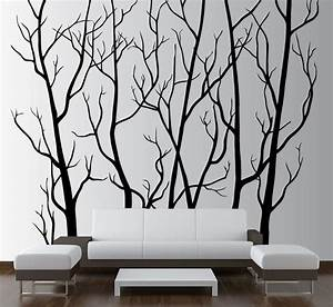 large wall art decor vinyl tree forest decal sticker With white birch tree wall decal decorations