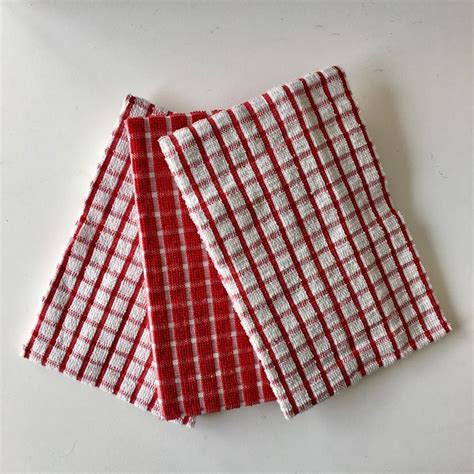 highly absorbent terry check tea towels dish cloth