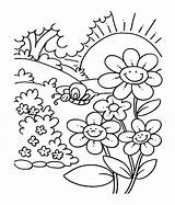 Coloring Pages Printable Spring Print Flower Garden Flowers Drawing Sheets Nature Gardens Cartoon Worksheets Printables sketch template