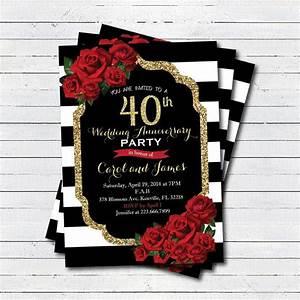 40th wedding anniversary invitation red rose black and With black and white wedding anniversary invitations