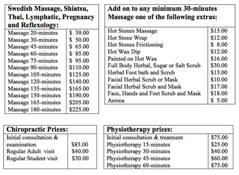 Price Lists  Guildwood Chiropractic And Wellness Centre