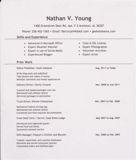 exle resume sle resume person