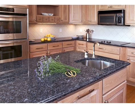 white kitchen blue granite countertops