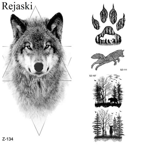 rejaski geometric  wolf tattoo stickers women body art drawing temporary tattoo men fierce