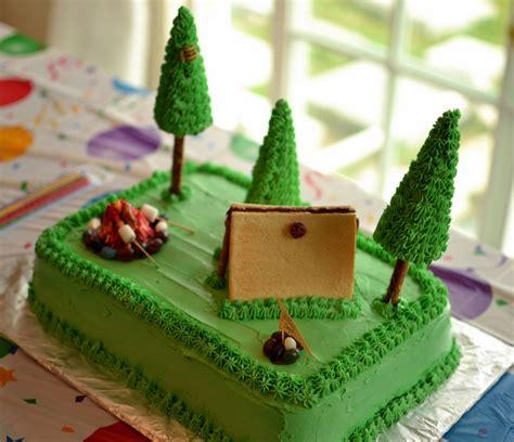 thrifty decorating camping birthday cake