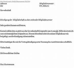 Kündigungsfrist Wohnung Beispiel : k ndigungsschreiben gewerkschaft ~ Frokenaadalensverden.com Haus und Dekorationen