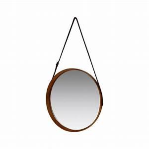 Miroir Rond à Suspendre : grand miroir suspendu rond en bois et cuir ann es 50 ~ Teatrodelosmanantiales.com Idées de Décoration