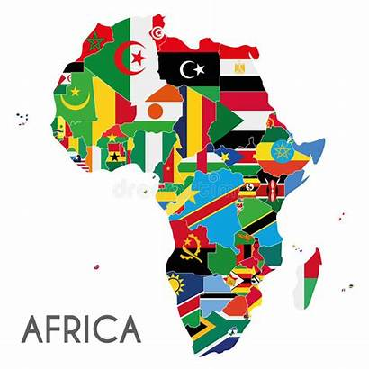 Africa Flags Map Countries Vector Labeled Illustration
