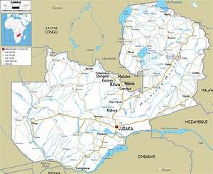 Large detailed road map of Zambia with all cities and ...