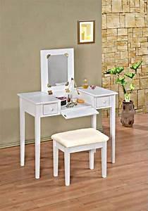 White Makeup Vanity Table Flip Top Vanity With Bench