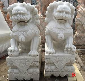 White Marble Hand Caved Chinese Lion Foo Dog Fu Dog Statue ...