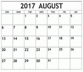 August 2017 Calendar Printable Free Templates