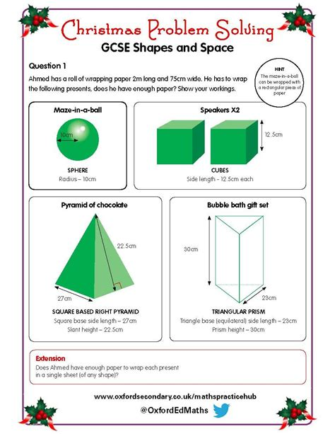 christmas worksheets ks4 try this christmas worksheet shapes and space with your gcse maths class christmas