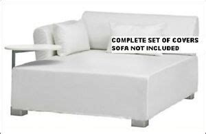 ikea mysinge sofa large chaise seat cover genarp white covers   ebay