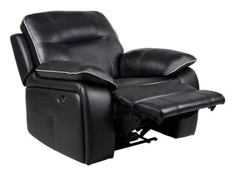 vente unique canapé cuir fauteuil relax électrique en cuir coloris noir catane