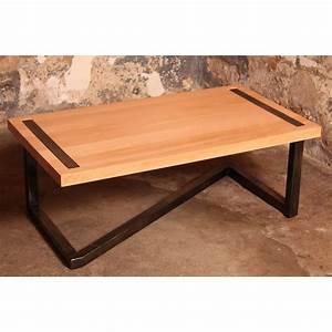 Table En Bois Design : table basse en bois et acier ~ Preciouscoupons.com Idées de Décoration
