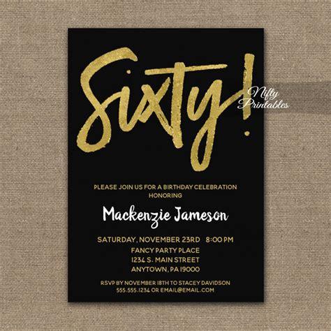 60th Birthday Invitation Black Gold Script PRINTED Nifty