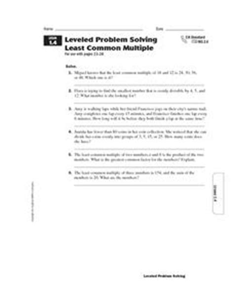 leveled problem solving least common worksheet for 4th 6th grade lesson planet