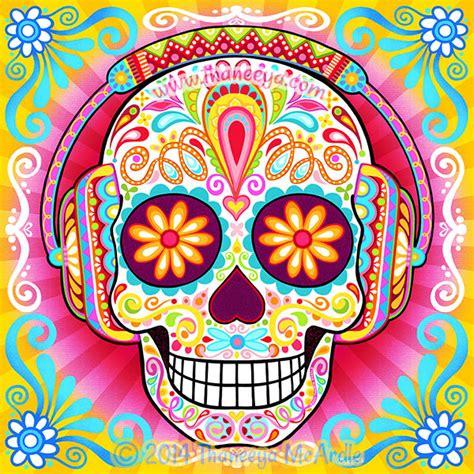 colorful sugar skull sugar skull colorful day of the dead by thaneeya