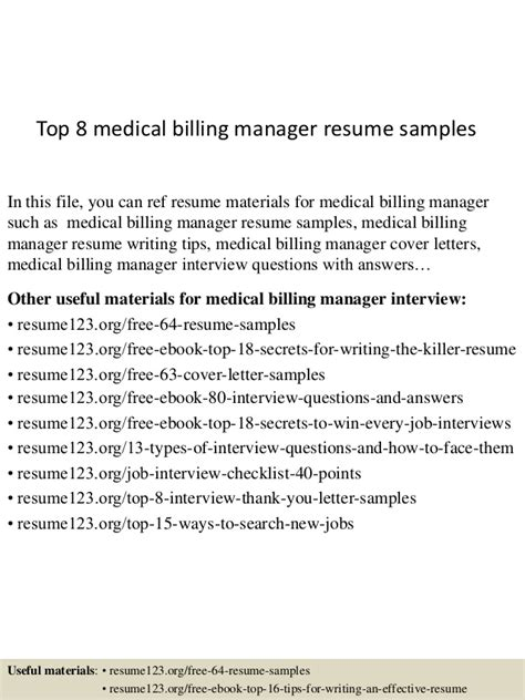 top 8 billing manager resume sles