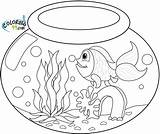 Goldfish Coloring Bowl Pages Fish Drawing Fishbowl Water Printable Template Realistic sketch template
