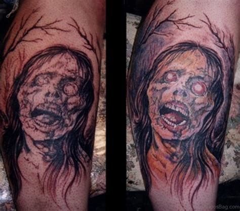 horror zombie tattoos  leg