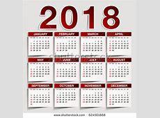 Simple 2018 Year Vector Calendar 2018 Stock Vector