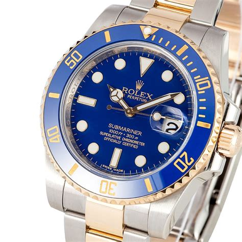 rolex submariner two tone steel yellow gold blue rolex submariner steel gold two tone used 116613 bob 39 s