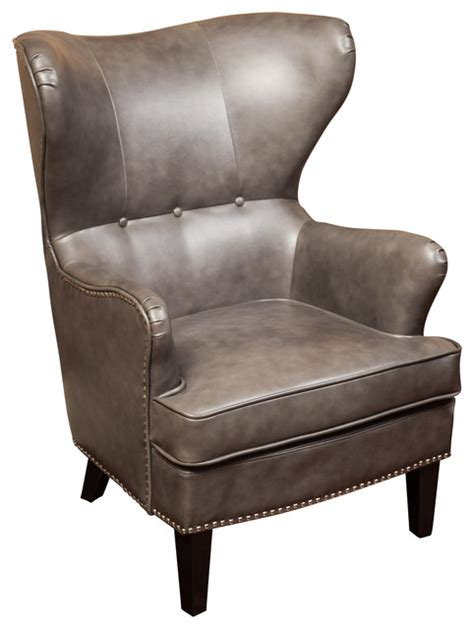 romford bonded leather wingback club chair grey