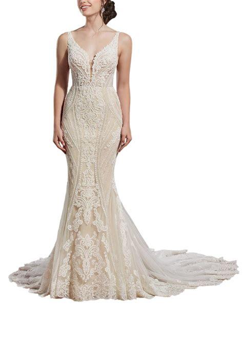 Loveonly Womens Wedding Dress For Bride Sweep Train Long