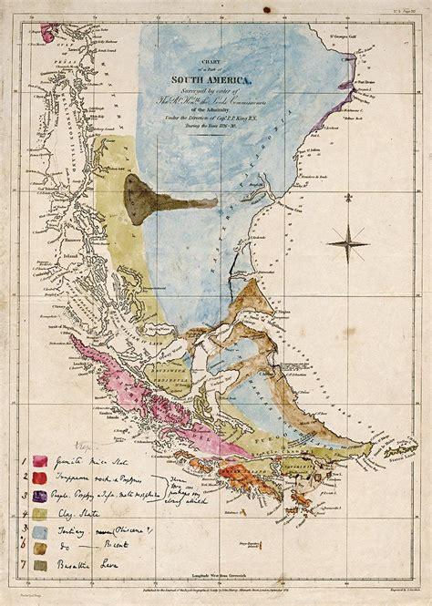 beautiful map drawn  charles darwin showing