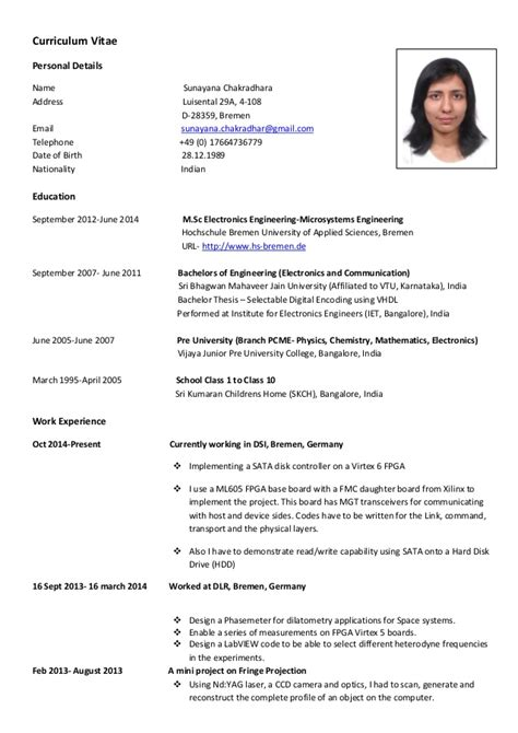 German Resume Photo Size by Cv European Format